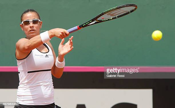 Paula Ormaechea of Argentina makes a shot during a singles match between Paula Ormaechea and Coco Vandeweghe as part of Fed Cup 2015 at Pilara Tenis...