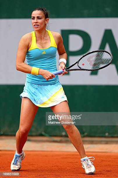 Paula Ormaechea of Argentina plays a forehand during her Women's Singles match against Yaroslava Shvedova of Kazakhstan on day five of the French...