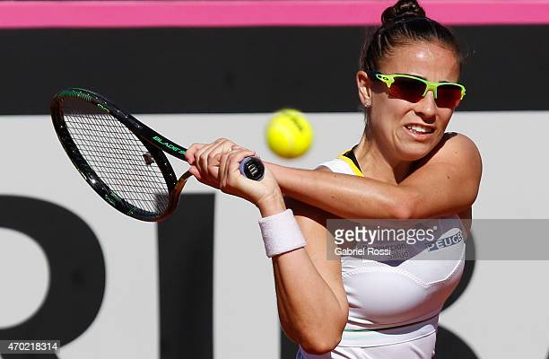 Paula Ormaechea of Argentina takes a backhand shot during a round 1 match between Paula Ormaechea of Argentina and Sara Sorribes Tormo of Spain as...