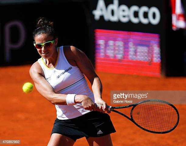 Paula Ormaechea of Argentina takes a backhand shot during a round 3 match between Paula Ormaechea of Argentina and Lara Arruabarrena of Spain as part...