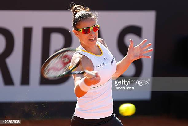 Paula Ormaechea of Argentina takes a forehand shot during a round 3 match between Paula Ormaechea of Argentina and Lara Arruabarrena of Spain as part...