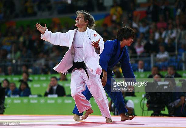 Paula Pareto of Argentina celebrates after defeating Ami Kondo of Japan during the Women's 48 kg Semifinal of Table B Judo contest on Day 1 of the...
