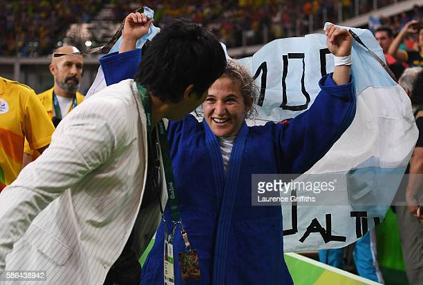 Paula Pareto of Argentina celebrates after defeating Bokyeong Jeong of Korea in the Women's 48 kg Gold Medal contest on Day 1 of the Rio 2016 Olympic...