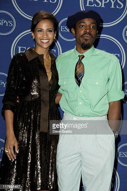 Paula Patton and André 3000 of OutKast during 2006 ESPY Awards Press Room at Kodak Theatre in Los Angeles California United States