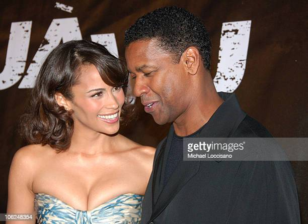 Paula Patton and Denzel Washington during 'Deja Vu' New York Premiere Arrivals at Ziegfeld Theatre in New York City New York United States