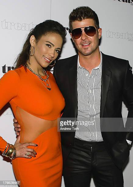 Paula Patton and Robin Thicke attend Robin Thicke's Album Release Party at No 8 on September 4 2013 in New York City