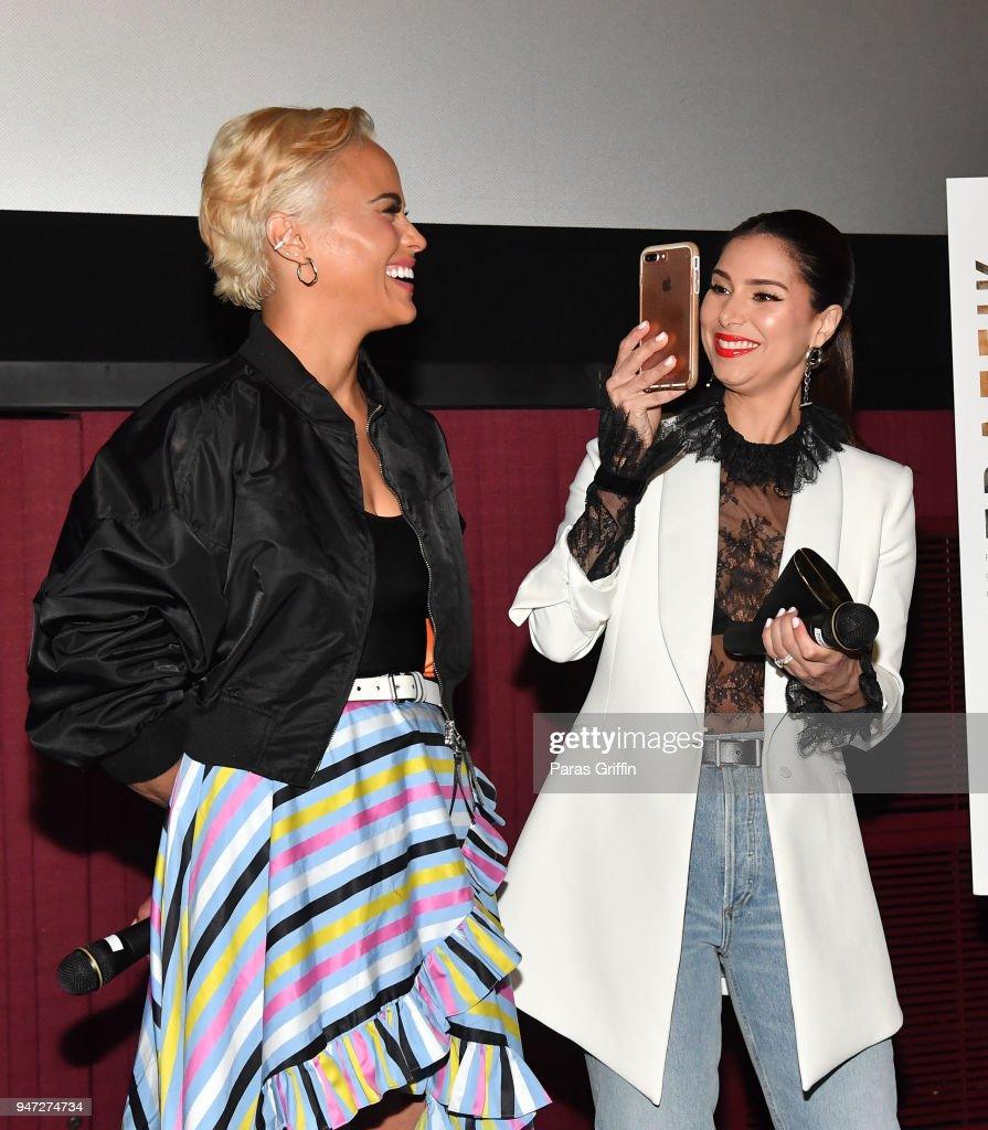 Paula Patton and Roselyn Sanchez attend 'Traffik' Atlanta VIP Screening at Regal Atlantic Station on April 16, 2018 in Atlanta, Georgia.