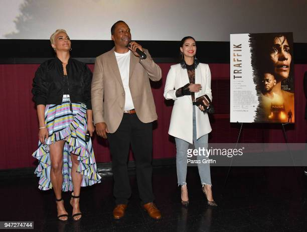 Paula Patton Deon Taylor and Roselyn Sanchez attend Traffik Atlanta VIP Screening at Regal Atlantic Station on April 16 2018 in Atlanta Georgia