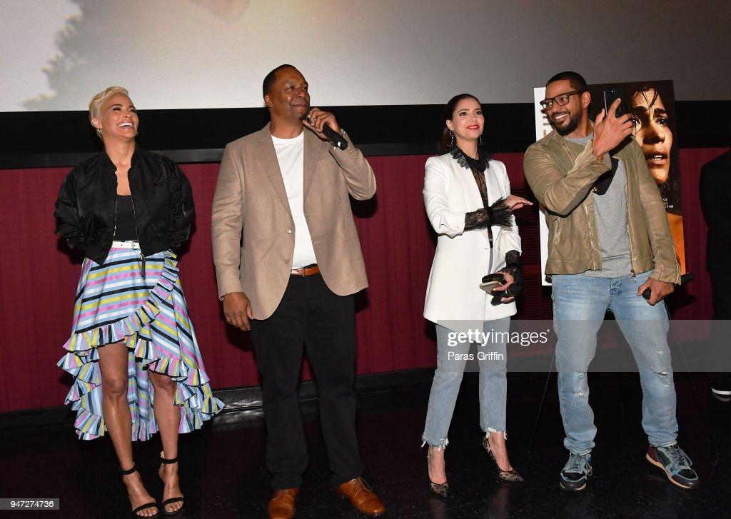 Paula Patton, Deon Taylor, Roselyn Sanchez and Laz Alonso attend 'Traffik' Atlanta VIP Screening at Regal Atlantic Station on April 16, 2018 in Atlanta, Georgia.