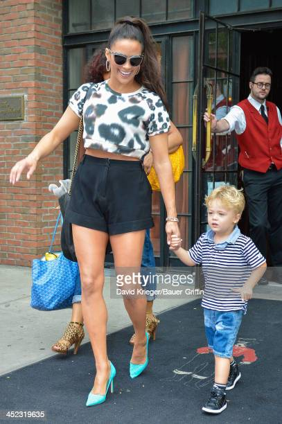 Paula Patton is seen holding the hand of her son Julian Fuego Thicke on August 01 2013 in New York City