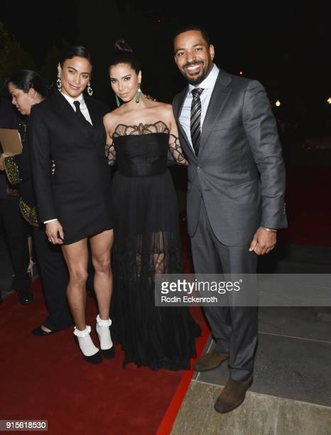 Paula Patton Roselyn Sanchez and Laz Alonso pose for portrait at the 9th Annual AAFCA Awards at Taglyan Complex on February 7 2018 in Los Angeles...