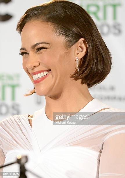 Paula Patton wearing Piaget multicolored stone earrings speaks onstage during Piaget at 2014 Spirit Awards nominations press conference at W...