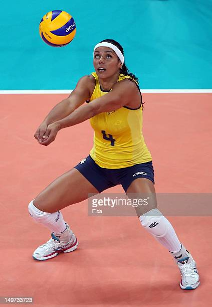 Paula Pequeno of Brazil passes the ball in the first set against China on Day 7 of the London 2012 Olympic Game at Earls Court on August 3 2012 in...