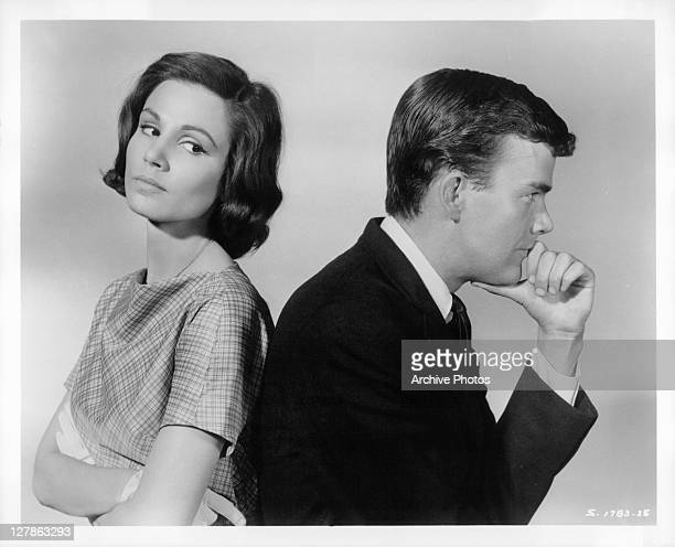Paula Prentiss and Jim Hutton with their backs to each other in a scene from the film 'Bachelor In Paradise' 1961