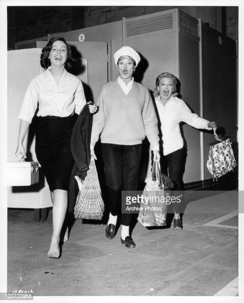 Paula Prentiss Janis Paige and Virginia Grey all laughing and walking together in a scene from the film 'Bachelor In Paradise' 1961