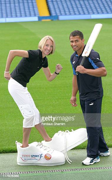 Paula Radcliffe and Jason Robinson during Tesco Sport for Schools Clubs Photocall at Chelsea FC in London Great Britain