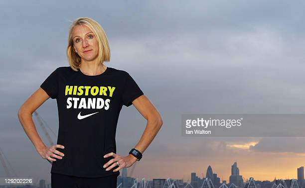 Paula Radcliffe at the Nike Run Club launch Stratford where she is rallying support for #HISTORYSTANDS on October 13 2011 in London England Paula is...