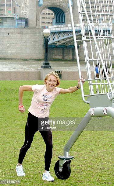 Paula Radcliffe during Paula Radcliffe Launches Cancer Research UK's Race for Life 2005 at Tower Bridge in London Great Britain