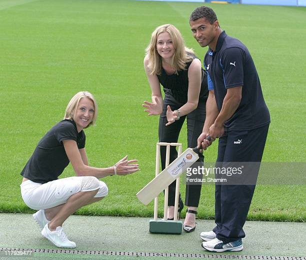 Paula Radcliffe Gabby Logan and Jason Robinson during Tesco Sport for Schools Clubs Photocall at Chelsea FC in London Great Britain