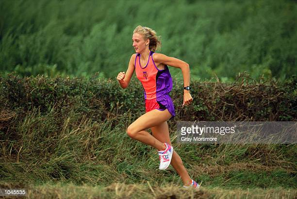Paula Radcliffe of Bedford and County Athletics Club running near her home during a feature in Oakley Bedfordshire England August 1992