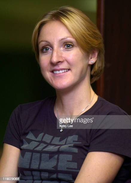 Paula Radcliffe of Great Britain at the Nike Team National Cross Country Championships Elite Athlete Forum at the Embassy Suites Hotel in Tigard Ore...