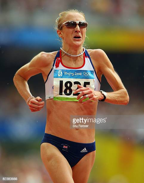 Paula Radcliffe of Great Britain compete in the Women's Marathon Final held at the National Stadium on Day 9 of the Beijing 2008 Olympic Games on...