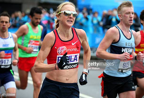 Paula Radcliffe of Great Britain competes during the Virgin Money London Marathon on April 26 2015 in London England