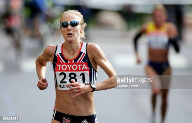 Paula Radcliffe of Great Britain competes during the women's marathon at the 10th IAAF World Athletics Championships on August 14 2005 in Helsinki...