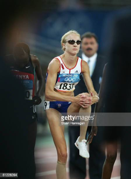 Paula Radcliffe of Great Britain is seen before the women's 10000 metre event on August 27 2004 during the Athens 2004 Summer Olympic Games at the...