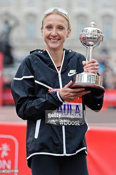 Paula Radcliffe of Great Britain receives the inaugural John Disley London Marathon Lifetime Achievement Award during the London Marathon on April...