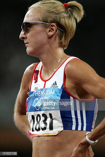 Paula Radcliffe of Great Britain withdrew from the Women's 10000m Final at the Athens 2004 Olympic Games at the Olympic Stadium in Athens Greece on...