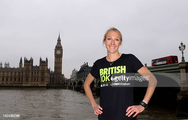 Paula Radcliffe pictured on Westminster Bridge to announce Nike's sponsorship of the Great British 10K on April 5 2012 in London England The Great...