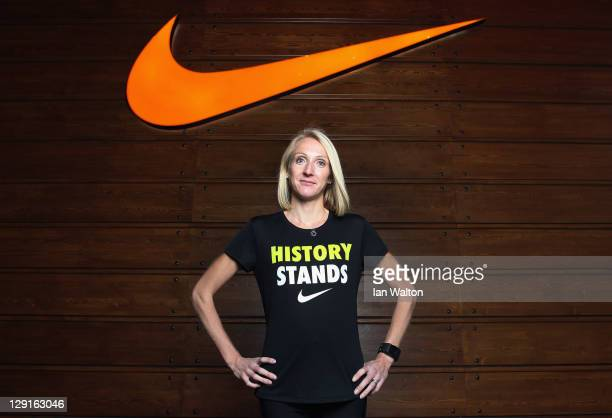 Paula Radcliffe poses at the Nike Run Club launch Stratford where she is rallying support for #HISTORYSTANDS at the Westfield Shopping Centre on...