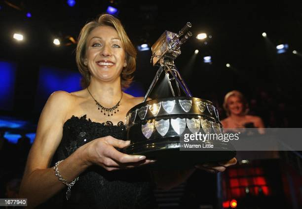 Paula Radcliffe poses with the BBC Sports Personality of the Year Award at BBC Television Centre in London on December 8 2002