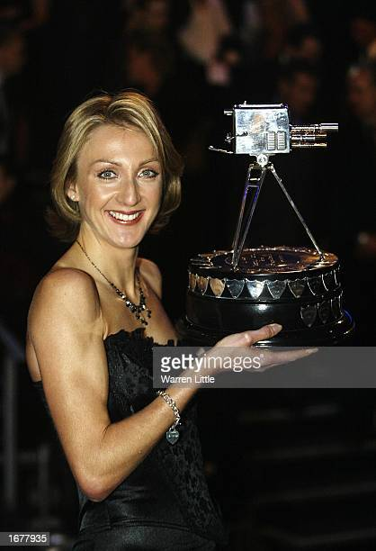 Paula Radcliffe poses with the trophy after winning the BBC Sports Personality of the Year Award held at the BBC Television Centre in London on...