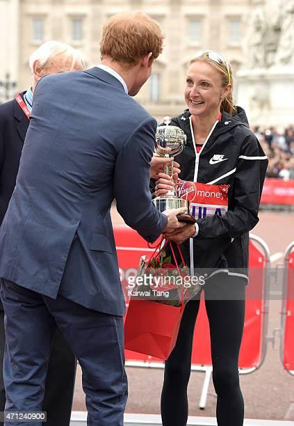 Paula Radcliffe receives the inaugural John Disley London Marathon Lifetime Achievement Award from Prince Harry during the Virgin Money London...
