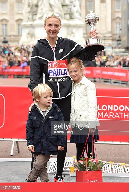 Paula Radcliffe with her family receives the inaugural John Disley London Marathon Lifetime Achievement Award during the Virgin Money London Marathon...