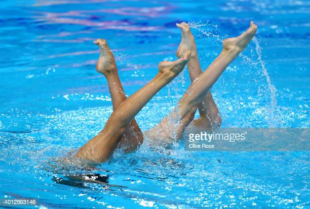 Paula Ramirez and Sara Saldana of Spain compete in the duet free routine during synchronised swimming on Day six of the European Championships...
