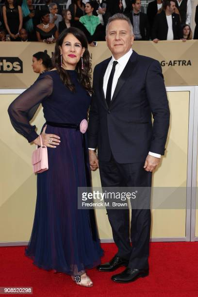 Paula Ravets and actor Paul Reiser attend the 24th Annual Screen Actors Guild Awards at The Shrine Auditorium on January 21 2018 in Los Angeles...