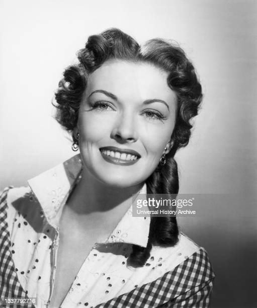 """Paula Raymond, Head and Shoulders Publicity Portrait for the Film, """"The Gun That Won The West"""", Columbia Pictures, 1955."""