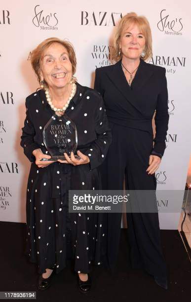 Paula Rego winner of the Lifetime Achievement Award and Hannah Rothschild attend the Harper's Bazaar Women of the Year Awards 2019 in partnership...