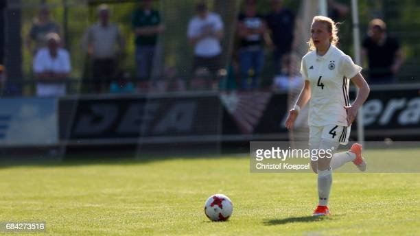 Paula Reimann of Germany runs with the ball during the U15 girl's international friendly match between Germany and Netherlands at Getraenke Hoffmann...