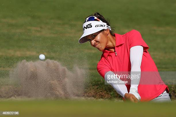 Paula Reto of South Africa hits an approach shot on the 6th green during day two of the LPGA Australian Open at Royal Melbourne Golf Course on...