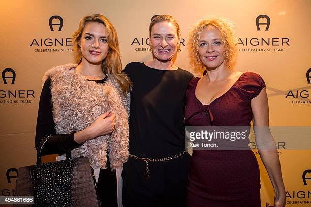 Paula Riemann CEO Aigner of Sibylle Schoen and Katja Riemann attend the AIGNER store opening party on October 29 2015 in Palma de Mallorca Spain