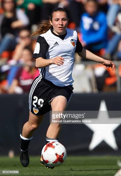 Paula Sancho of Valencia CF runs with the ball during the Liga Femenina match between Valencia CF Women and FC Barcelona Women at Francisco Puchades...