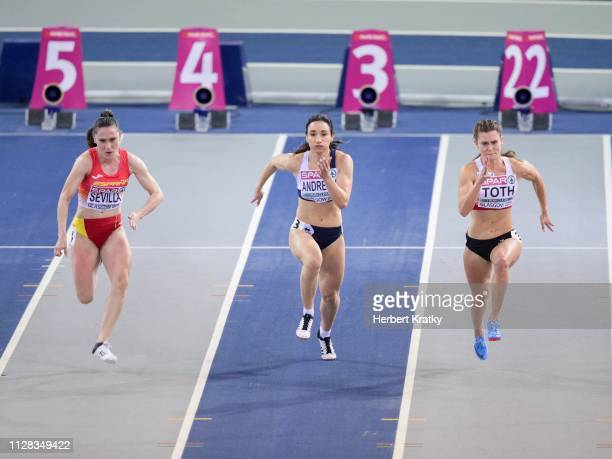 Paula Sevilla of Spain Paraskevi Andreou of Cyprus and Alexandra Toth of Austria compete in the qualification races of the women's 60m event on March...