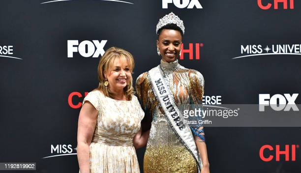 Paula Shugart President of the Miss Universe Organization and Miss Universe 2019 Zozibini Tunzi of South Africa appear at a press conference...
