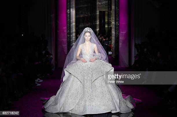 Paula Simkuse walks the runway during the Zuhair Murad Spring Summer 2017 show as part of Paris Fashion Week on January 25 2017 in Paris France
