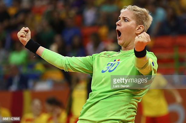 Paula Ungureanu of Romania celebrates during the Womens Preliminary Group A match between Romania and Montenegro at Future Arena on August 10, 2016...