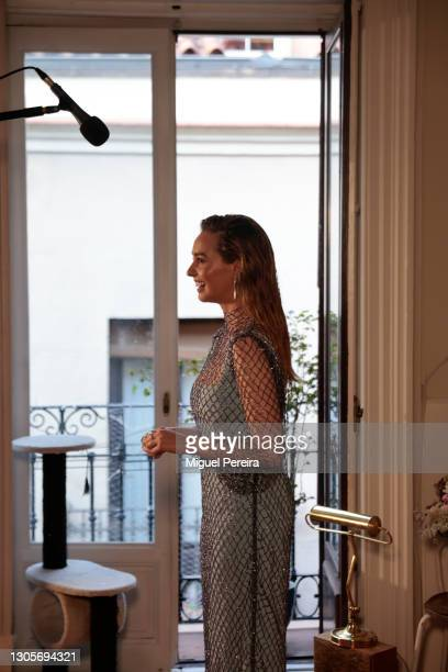 Paula Usero speaks during a live television interview ahead of the Goya Cinema Awards 2021 at her home on March 6, 2021 in Madrid, Spain.